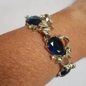 VTG Bracelet, Large Blue Glass + Clear Rhinestones